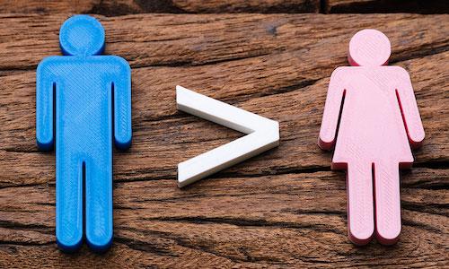 A graphic illustrating men make more than women.